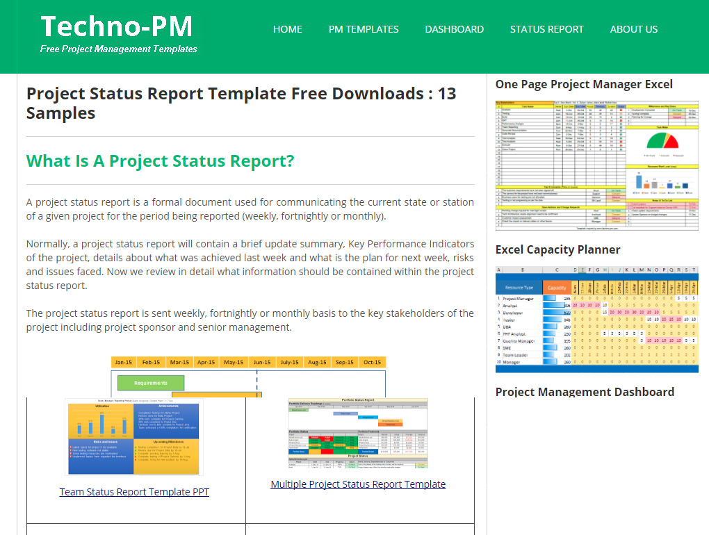 Project Status report templates